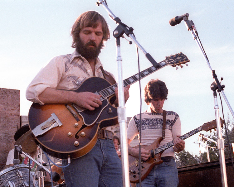 Jerry Miller and Peter Lewis performing live onstage with Moby Grape at San Francisco Civic Center Plaza during February, 1978.