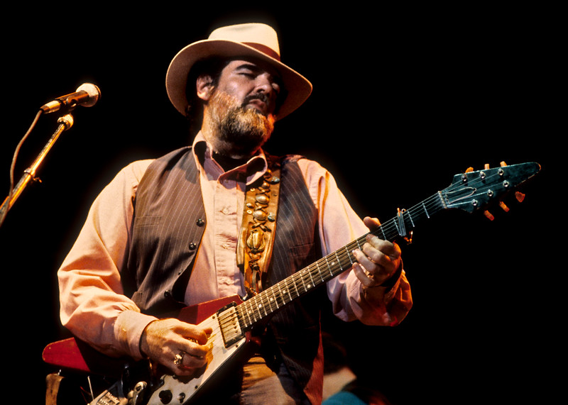 Lonnie Mack performing live on stage at the Greek Theater in Berkeley on October 11, 1985.