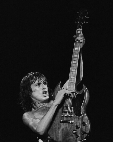 Angus Young performing with AC/DC at the Cow Palace in San Francisco on February 16, 1982.
