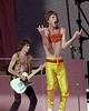 Mick Jagger and Keith Richards perform with the Rolling Stones at Candlestick Park in San Francisco on October 17, 1981.