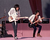 Ron Wood and Keith Richards perform with the Rolling Stones at Candlestick Park in San Francisco on October 17, 1981.