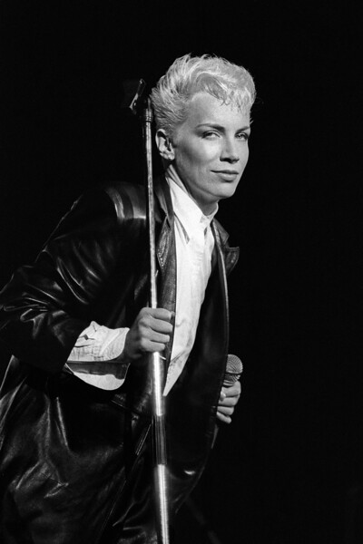 Annie Lennox sings with the Eurythmics at the Greek Theater in Berkeley, CA in 1985
