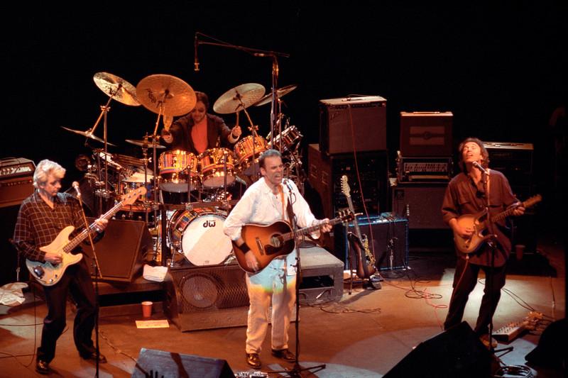Little Village performs at the Warfield Theater in San Francisco on April 7, 1992. (L-R) Nick Lowe, Jim Keltner, John Hiatt, Ry Cooder.