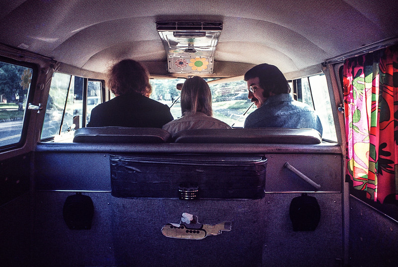 Peter, Kathy & Howie commuting from Northampton to Springfield in Peter's Magic Bus