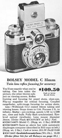 Listing in Sears Camera Catalog, 1953