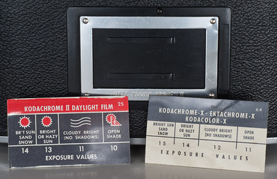 Kodak Automatic 35, showing flash exposure cards to be inserted into frame on back