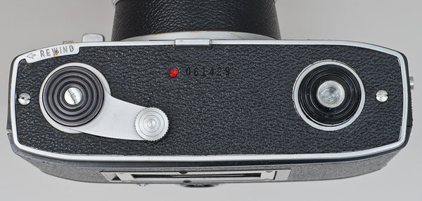 Kodak Automatic 35, showing bottom winding lever and tripod socket