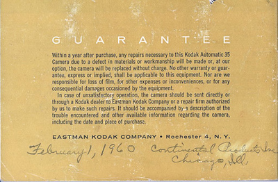 Kodak Automatic 35 instruction booklet