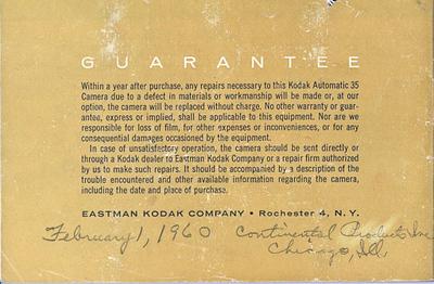 Kodak Automatic 35 instruction booklet