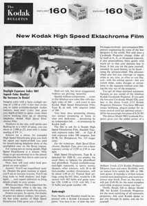 Ad from Modern Photography, Aug. 1959 - Note introduction of fast color film, making auto-exposure essential for point-and-shoot 35mm cameras