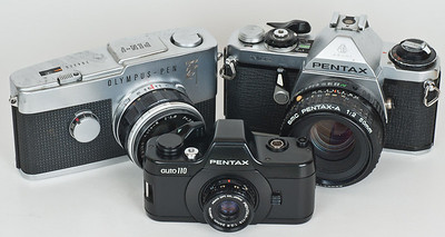 Asahi Pentax Auto 110 with Olympus Pen F and Pentax ME