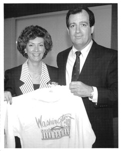 Congressman Terry Bruce with Debbie Paschal, an Illinois group chaperone in the early 1990s.