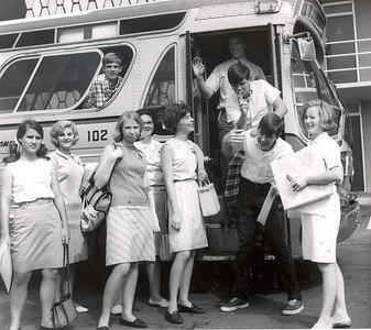 Georgia Youth Tour students getting off the bus. 1966