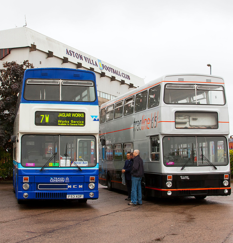 Left to right:<br /> F53 XOF Travel Coventry 1989 MCW Metrobus.<br /> A110 WVP West Midlands 1984 MCW Metrobus MkII. One of the buses modified for use on the Birmingham Guided Busway Tracline 65experiment in 1984.
