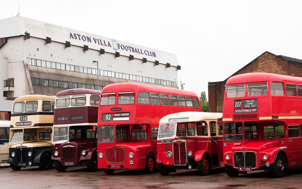 Parked up In the shadow of the Whitton Stand <br /> From left to right:<br /> LOG 302 Birmingham Transport 1954 Daimler CLG6 Double Decker with Metro Cammell Bodywork.<br /> 334 CRW Coventry Transport 1963 Daimler CVG6 Double Decker with Metro Cammell Weymann Bodywork.<br /> 6370 HA Midland Red 1964 BMMO D9<br /> RC 7927 BMMO SOS SON built for the Trent Bus company<br /> WLT 506 London Transport 1960 A E C Routemaster Double Decker with Park Royal Bodywork.