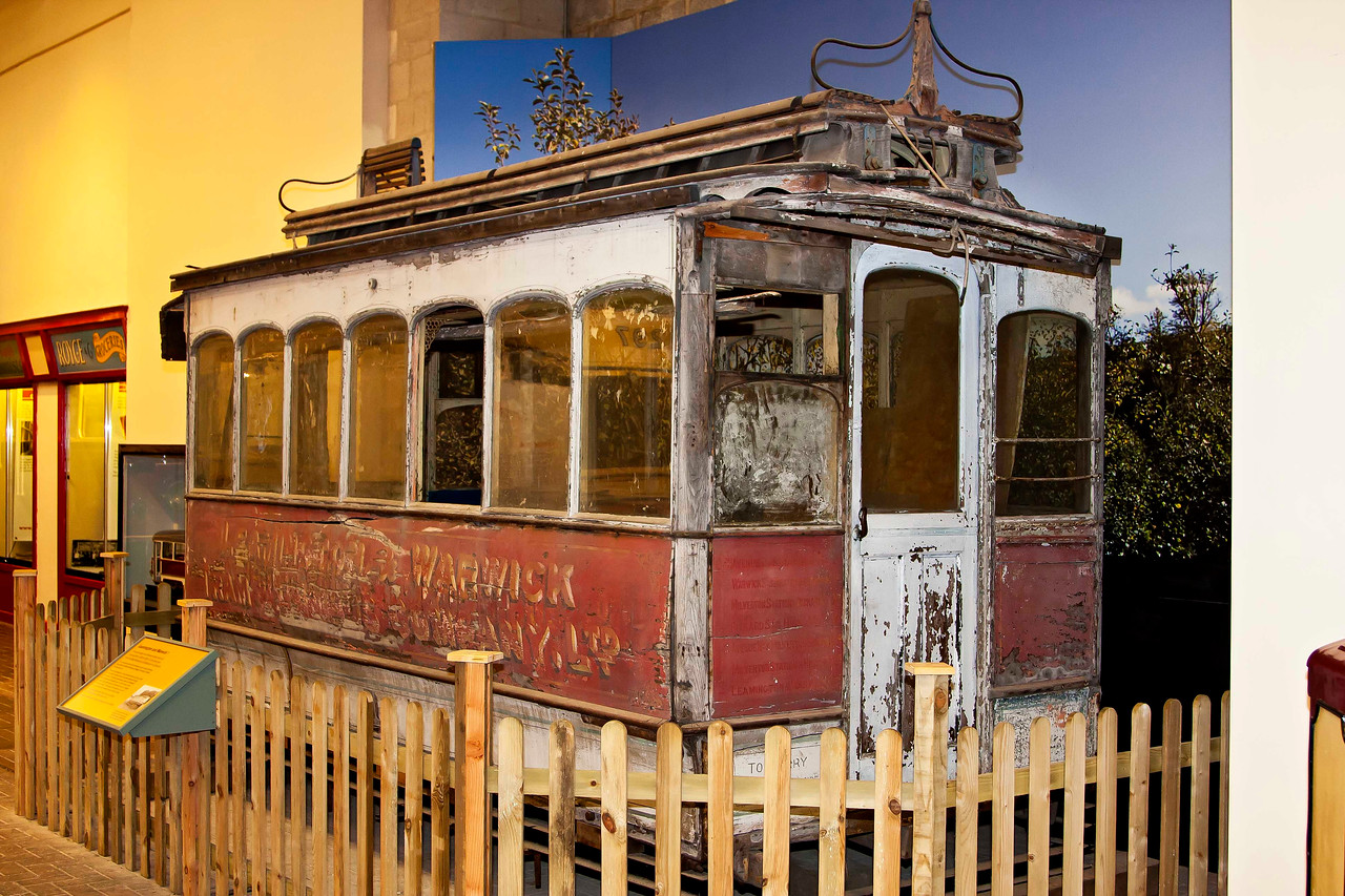 Possibly the only surviving tramcar from the Leamington and Warwick Tramway. Among one of the smallest tramways in the country being just over <br /> three miles long running from near the Lord Leicester Hospital to the railway station in Leamington. The tramway served the towns for 49 years from <br /> 1881 to 1930. Horse drawn for the first 24 years and electricity provided the traction for the remaining 25 years.
