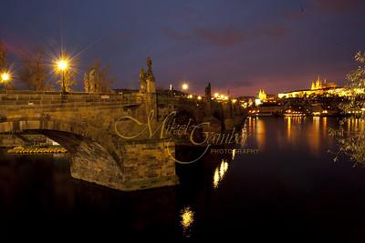 The Charles bridge on the Vltava River