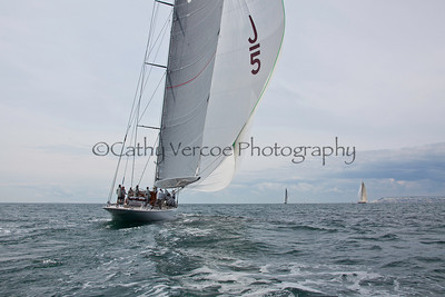 The J Boats Ranger, Lionheart and Velsheda leave Cowes to race around the Isle of Wight as part of the 2012 100 Guinea Cup Regatta. Cathy Vercoe LuvMyBoat.com