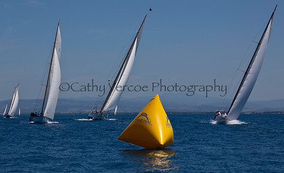 Sailing at the Panerai Classic Yacht Regatta on the waters of the Mediterranean Sea off the coast of Porto Santo Stefano in Italy as part of the Argentario Race week. Cathy Vercoe LuvMyBoat.com