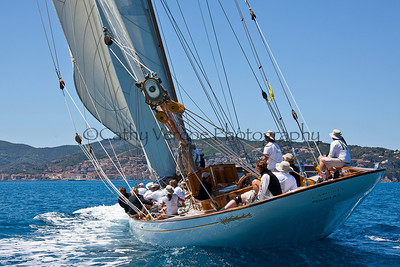 Cambria - a 23 meter William Fife III Classic yacht at the Panerai Classic Yacht Regatta 2012 in Porto Santo Stefano as part of Argentario Sailing Week