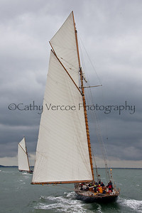 Three Classic yachts; Mariette, Eleonora and Mariquita race in the Solent as part of the Westward Cup 2012 hosted by the Royal Yacht Squadron at Cowes on the Isle of Wight, UK. Cathy Vercoe LuvMyBoat.com