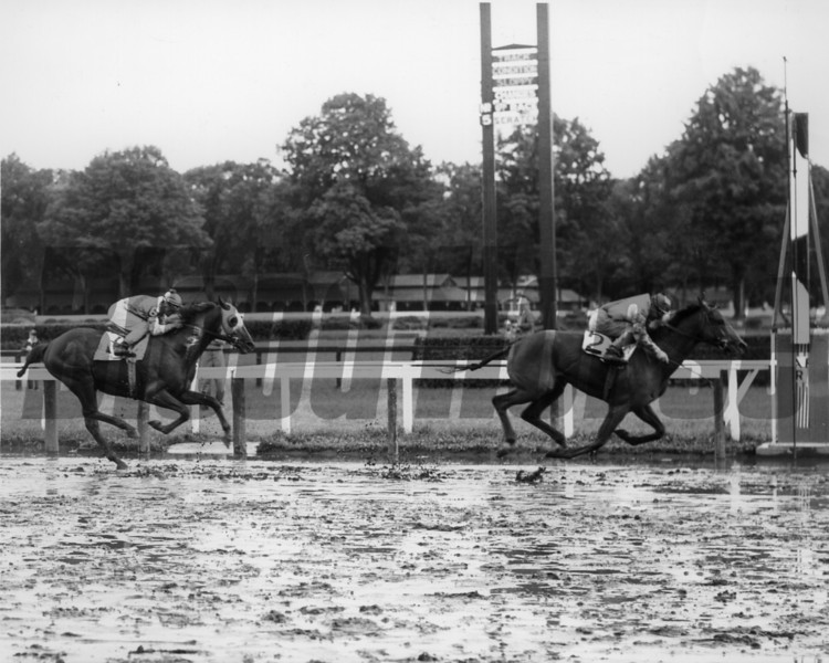 Thinking Cap wins the 1955 Travers Stakes at Saratoga.