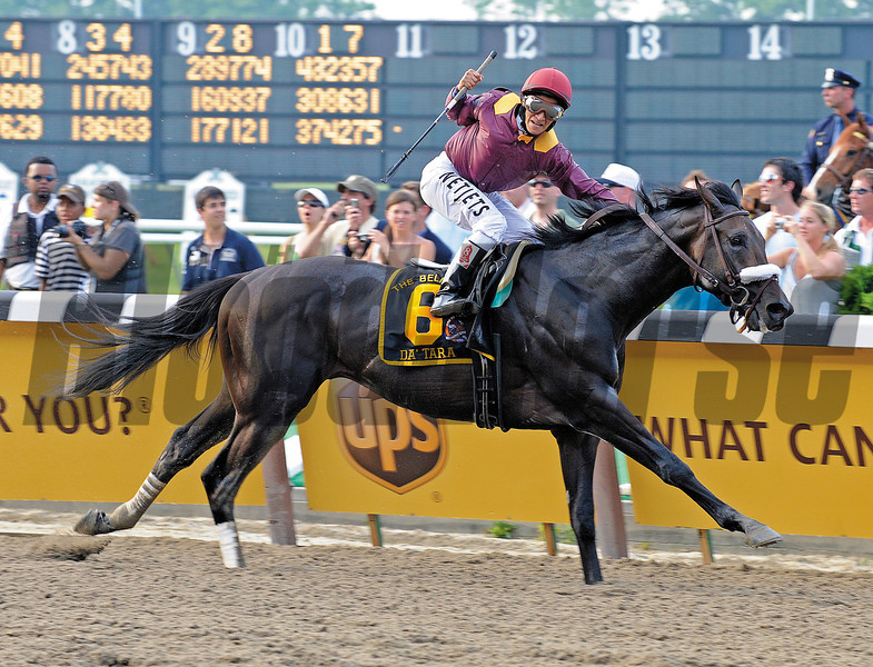 Caption: Da'Tara with Alan Garcia wins the Belmont Stakes (gr. I)<br /> Belmont Stakes Day at Belmont Park in Elmont, N.Y. on June 7, 2008.<br /> <br /> Photo by Anne M. Eberhardt