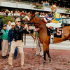 Sky Beauty wins the 1993 Mother Goose Stakes at Belmont Park.<br /> Photo by: Skip Dickstein