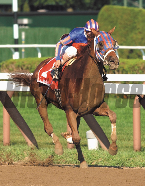Left Bank with jockey John Velazquez runs on to win the 75th running of The Whitney at the Saratoga Race Course in Saratoga New York August 3, 2002.  Photo by Skip Dickstein