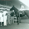Native Diver wins the American Handicap with jockey Jerry Lambert up at Hollywood Park on July 5, 1965. Rear Admiral Odale D. Waters, Jr., and Mrs. Waters present trophy to owners Mr. and Mrs. L.K. Shapiro.