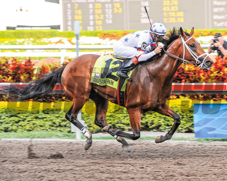 Big Brown and jockey Kent Desormeaux win the 2008 Florida Derby at Gulfstream Park.<br /> Photo by: Adam Coglianese