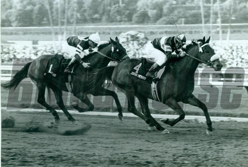 John Henry and jockey Laffit Pincay Jr. wins the Santa Anita Handicap at Santa Anita Park on March 8, 1981.