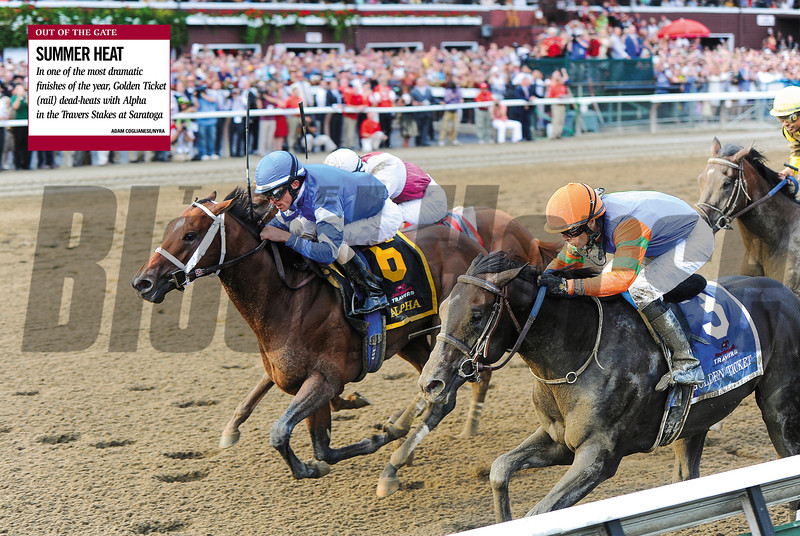 Alpha and Golden Ticket finish in a dead heat in the 2012 Travers Stakes at Saratoga on August 25, 2012.<br /> Photo by Adam Coglianese