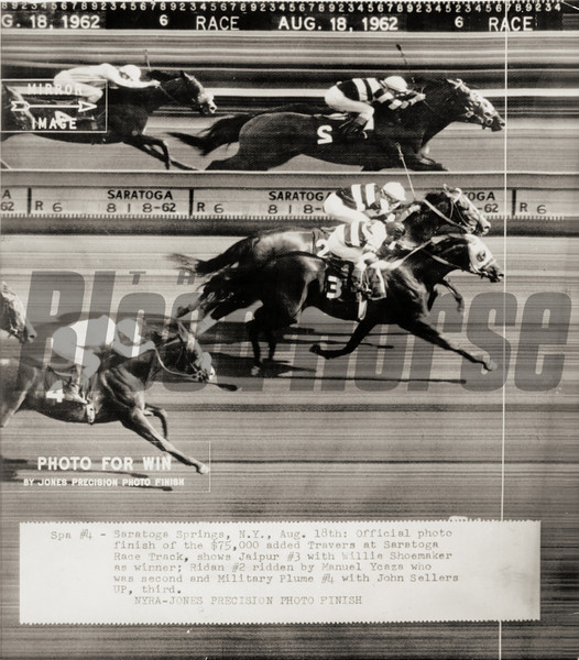 #3 Jaipur and jockey WIllie Shoemaker defeat #2 Ridan to win the 1962 Travers Stakes at Saratoga Springs on August 18, 1962.<br /> Photo by: NYRA/Jones Precision Photo Finish