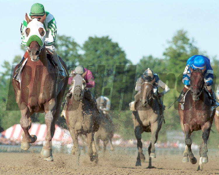 Point Given wins the 2001 Travers at Saratoga.<br /> Photo by: Adam Coglianese/NYRA