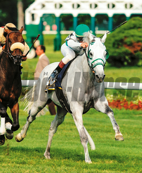With Anticipation with jockey Pat Day in the irons runs on the win the 2001 Sword Dancer at the Saratoga Race Course August 11, 2001.<br /> Photo by: Skip Dickstein