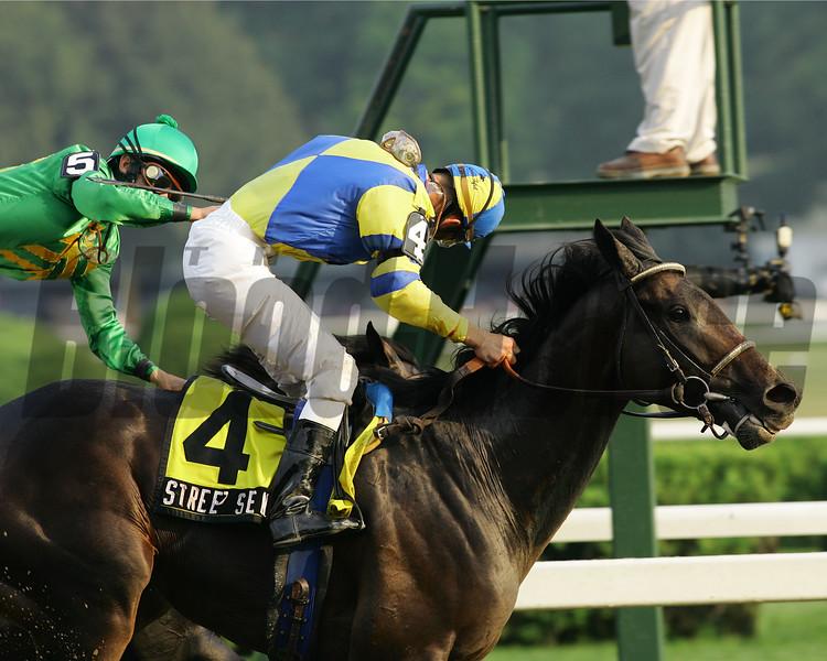Street Sense wins the 2007 Travers (gr. I) Stakes.<br /> Coglianese Photos/Brandon Benson