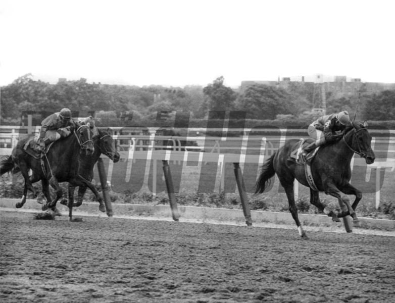 Our Mims and jockey Jorge Velasquez wins the 1977 Coaching Club American Oaks at Belmont Park.<br /> Photo by: Bob Coglianese