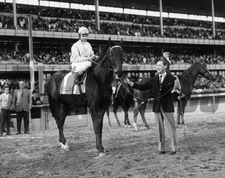 Kelso is held by Eddie Arcaro at New York's Aqueduct on November 5 during celebration of Old Timers' Day. In the saddle is Ismael Valenzuela. <br /> Photo by: Bob Coglianese