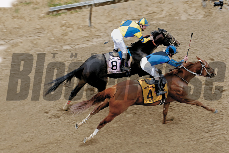Curlin wins the 2007 Preakness Stakes by a head over Street Sense.<br /> Rick Samuels Photo