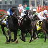 Photo by Skip Dickstein - Einstein outduels Cowboy Cal to win the 34rd running of The Woodford Reserve Turf Classic (GI) at Churchill Downs in Louisville, Kentucky May 2, 2009.