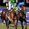 Jockey Richard Migliore and celebrates aboard Desert Code, left, to beat  Diabolical and jockey Lanfranco Dettori in the Breeders Cup Turf Sprint.