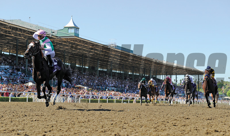 Garrett Gomez rides Juddmonte Farm's Ventura to the win in the Sentient Flight Group Breeders' Cup Filly and Mare Sprint at Santa Anita October 24, 2008.  Photo by Skip Dickstein