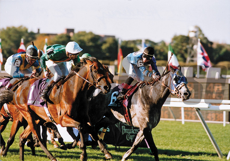 Lester Piggot's rousing stretch run on Royal Academy in the 1990 Mile, photo by Skip Dickstein