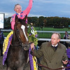 TRAINER JAY ROBBINS LEADS TIZNOW TO THE WINNERS CIRCLE WITH CHRIS MCCARRON ABOARD AFTER WINNING HIS SECOND CONSECUTIVE BREEDERS CUP