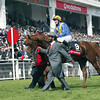 Kris Kin & Kieren Fallon winners of the Derby led in by owner Saeed Suhail , Epsom 07/06/03<br /> © Trevor Jones