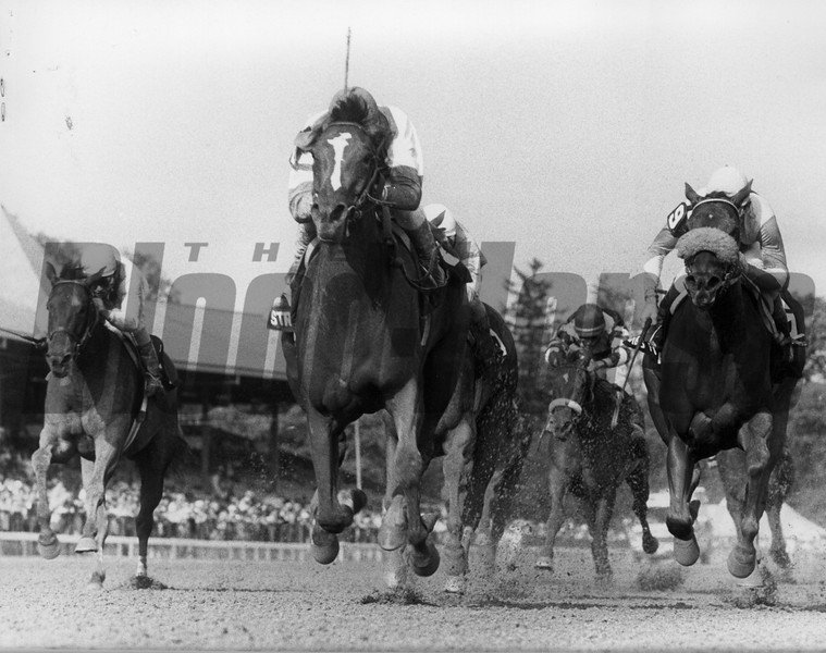 Strategic Maneuver wins the 1993 Grade I Spinaway Stakes at Saratoga Race Course.<br /> Photo by: Skip Dickstein