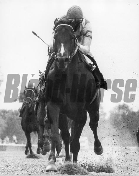 Housebuster wins the Grade II Withers Stakes at Aqueduct on May 9, 1990.<br /> Photo by: Bob Coglianese