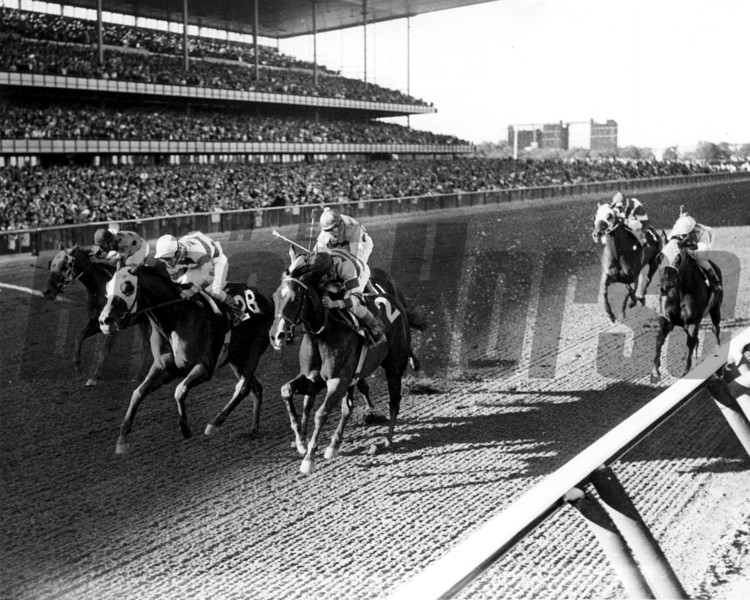 What A Treat with John Rotz up beating Steeple Jill in the 1965 Beldame Handicap at Aqueduct September 27<br /> Photo by Bob Coglianese