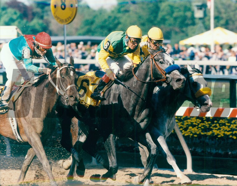 Silver Charm wins the Preakness Stakes